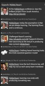 Twitter at work at #slide2learn