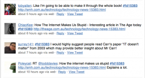 Twitter reactions to The Age article