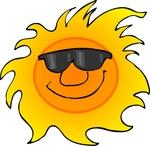 Happy Sun Wearing Shades Cartoon Clipart